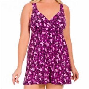 Pink floral plus size swimsuit dress